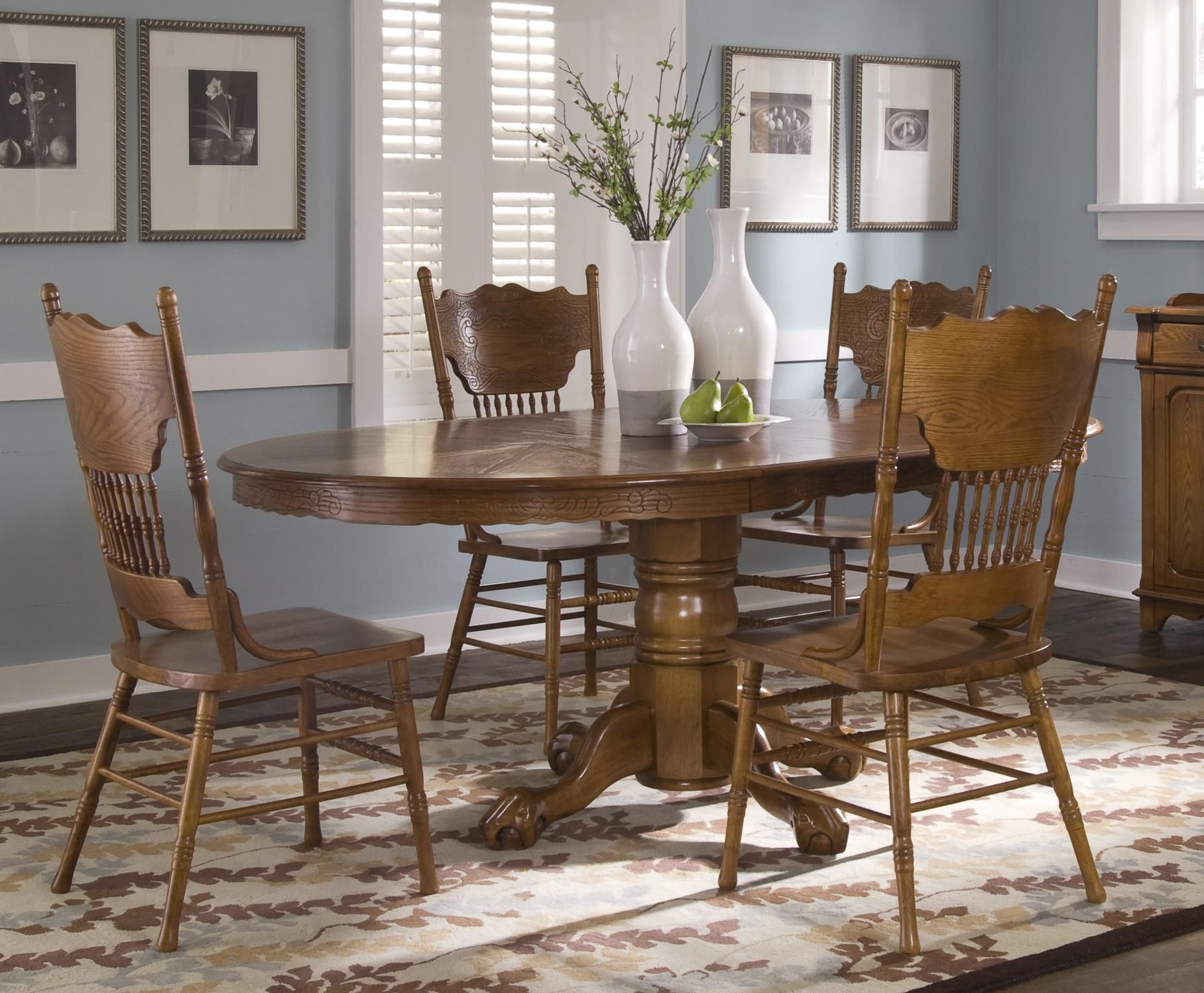 Nostalgia single pedestal table and side chair set by liberty