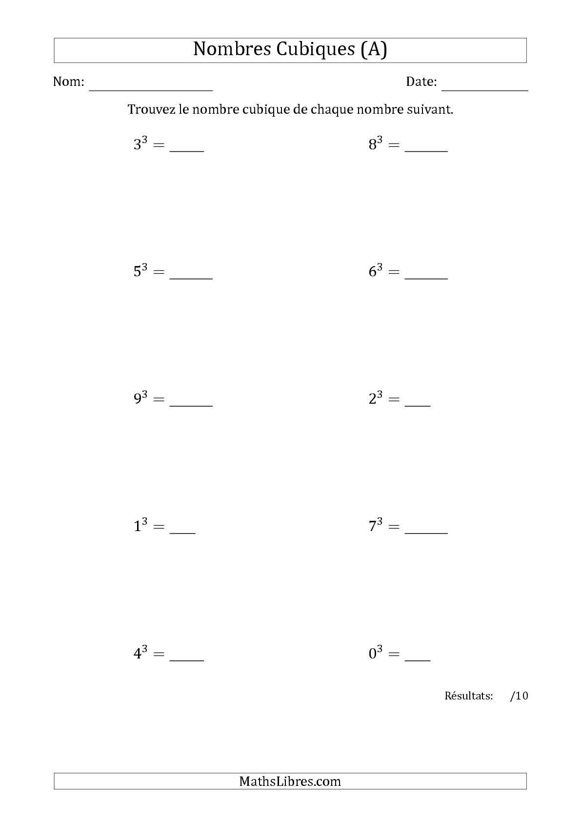 La Nombres Cubiques De 0 A 9 A Fiche D Exercices Sur Le Sens Des Nombres