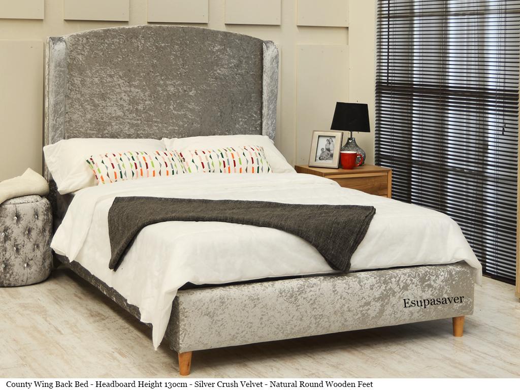 County Wing Back Bed Frame Available In Crush Velvet Chenille