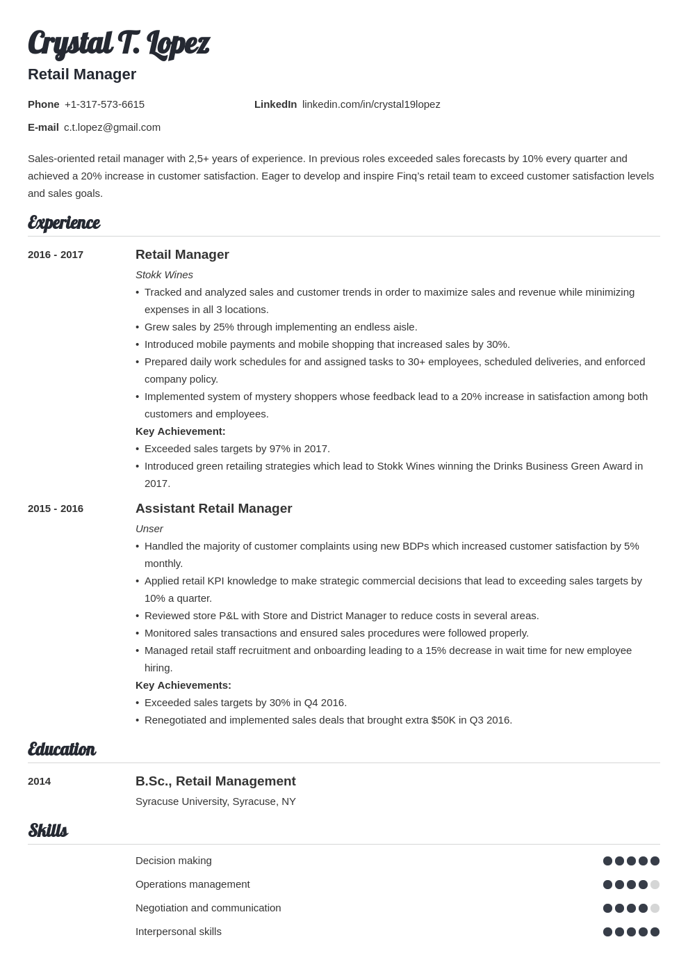 retail manager resume example template valera in 2020