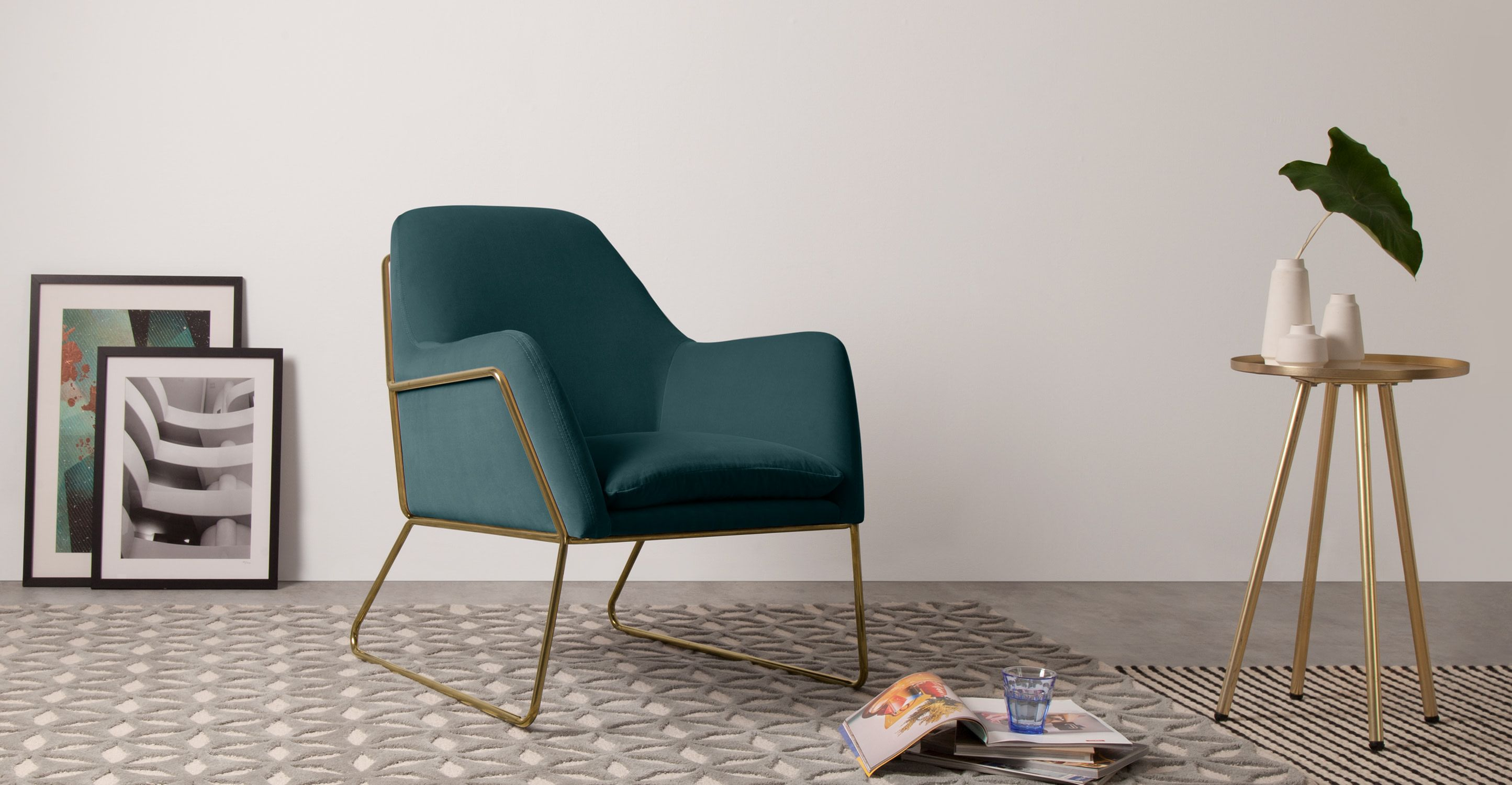 Sessel Mit Leselampe Frame Sessel Messing Und Samt In Petrolblau Furniture Velvet