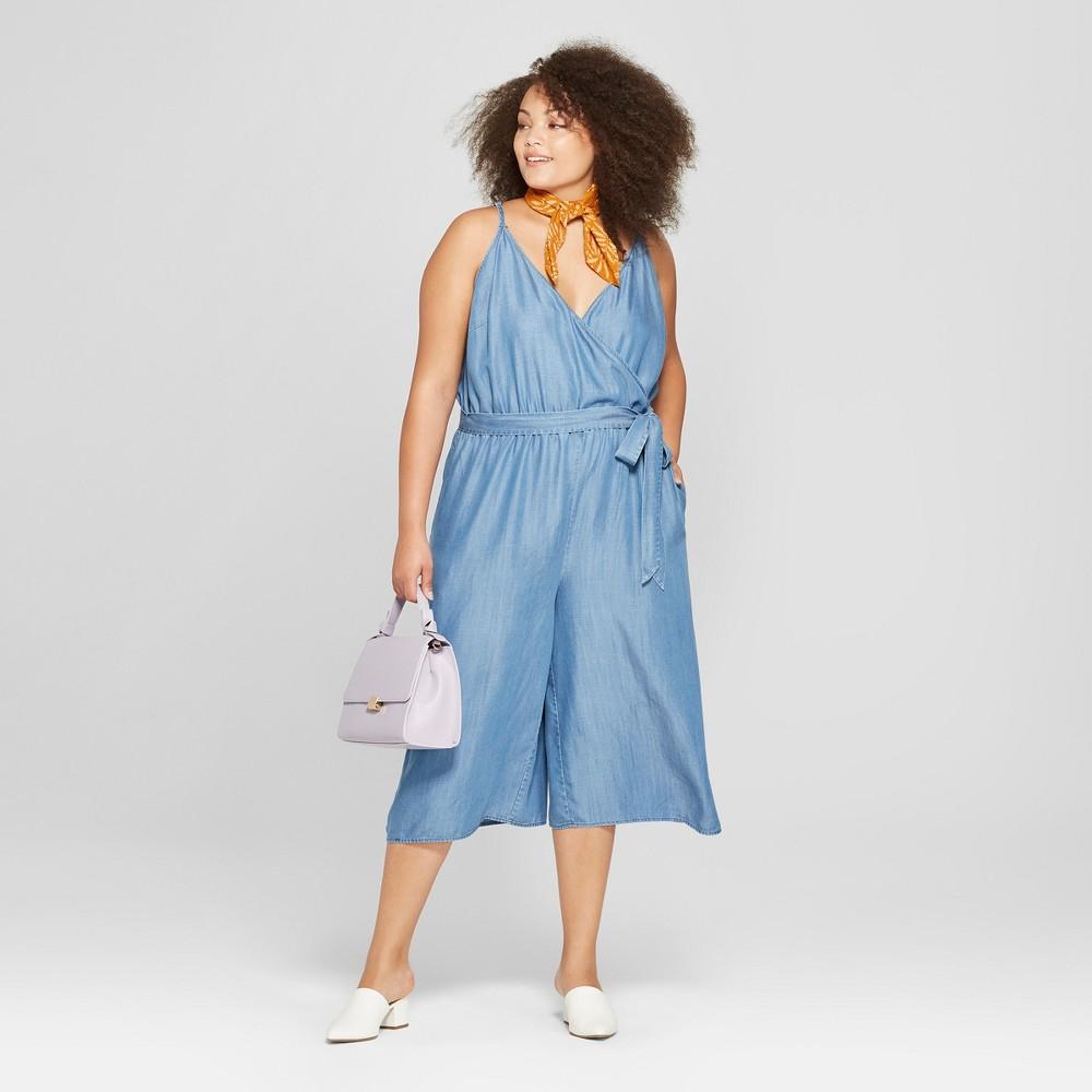 0828217ebdc8 Women s Plus Size Tencel Wrap Front Jumpsuit - A New Day Blue 2X ...