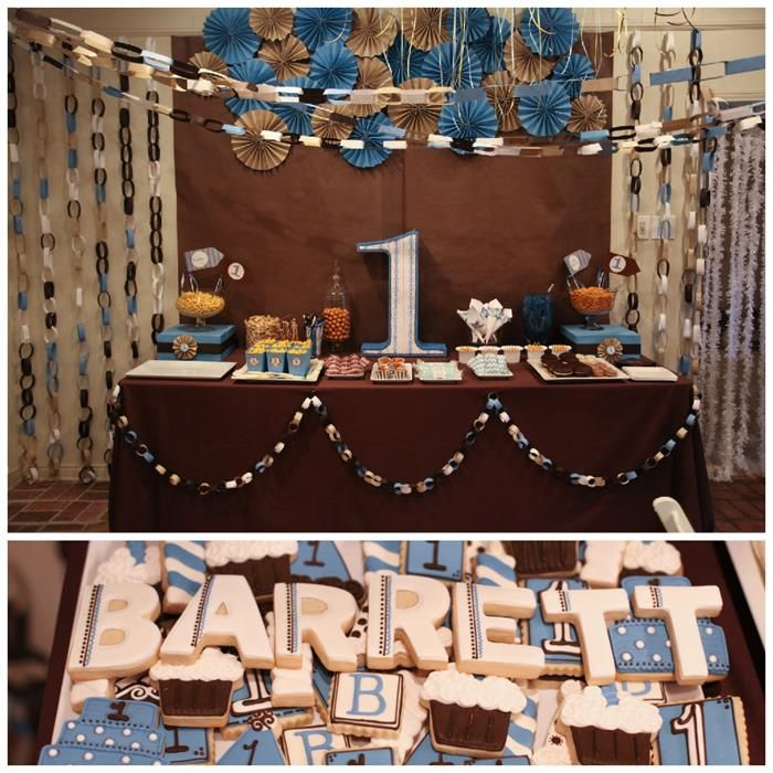 Blue and Brown Boys 1st Birthday Party with Lots of Cute Ideas