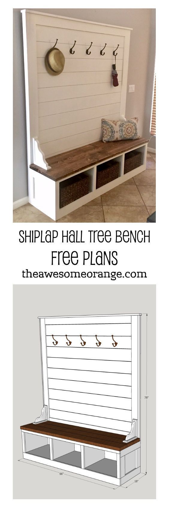 Shiplap Hall Tree Bench Plans Updated 1 8 19 The Awesome Orange In 2020 Hall Tree Bench Hall Tree Diy Storage Bench