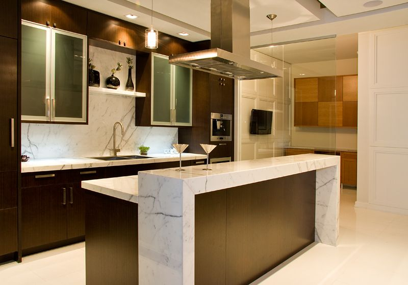 Statuario Marble Extra Wide Parsons Waterfall Bar Top, Counter Surfaces And  Backsplash; Aya Kitchens