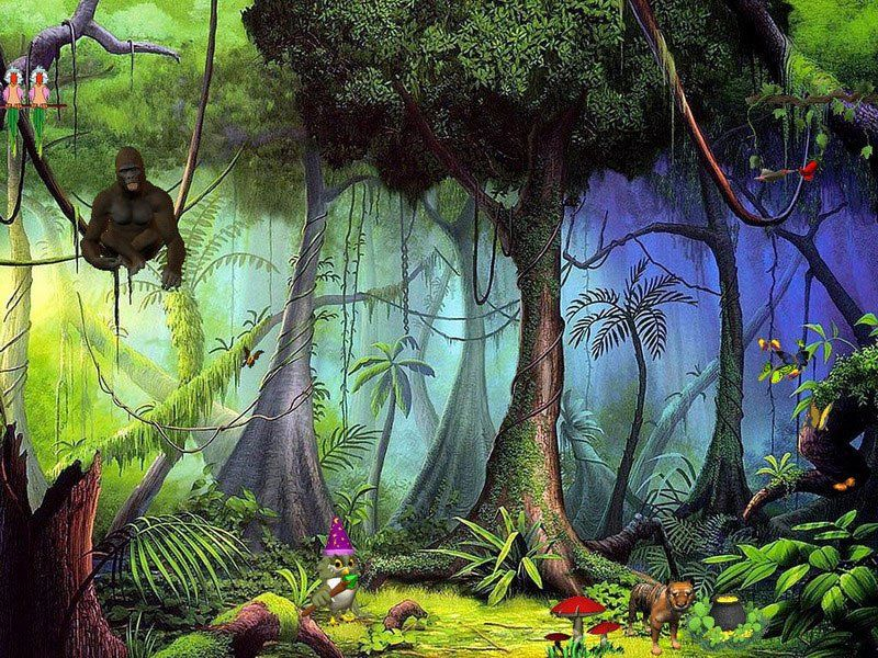 jungle scenes paintings | Biosphere All the animals, plants, and everything that makes up a ...