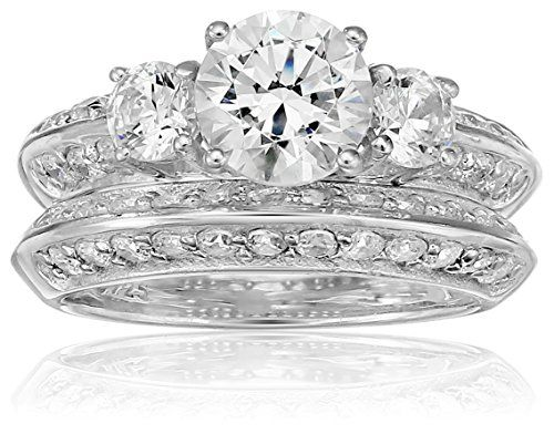 PlatinumPlated Sterling Silver Swarovski Zirconia Ring Set Size 8 ** Click image to review more details.