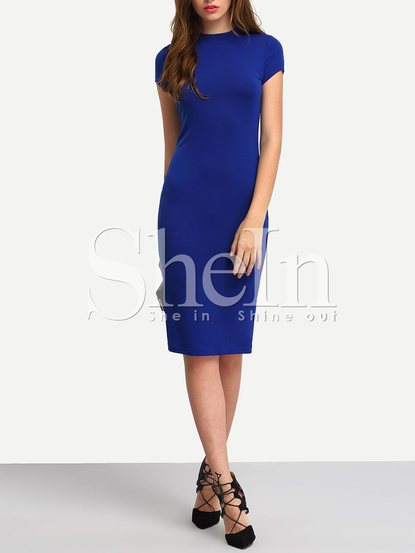 Bodycon Kleid knielang mit kurzen Ärmeln -blau  Blaue kleider