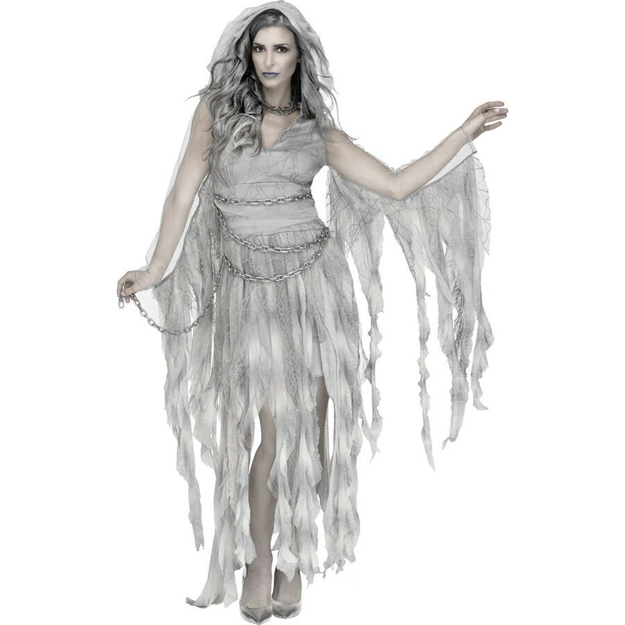 Adult Ghostly Spirit Ghost Ladies Halloween Fancy Dress Costume Party Outfit