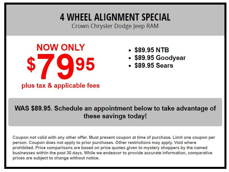 Four Wheel Alignment SPECIAL At Crown Chrysler Dodge Jeep Ram Greensboro:  Https://