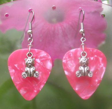 Silver Teddy Bear Pink Guitar Pick Earrings