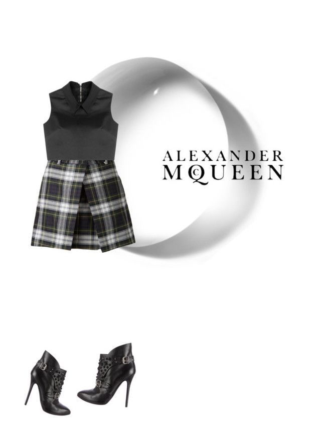 """McQueen top and plaid skirt with heel boots."" by kohlanndesigns ❤ liked on Polyvore featuring McQ by Alexander McQueen, Alexander McQueen, women's clothing, women's fashion, women, female, woman, misses and juniors"