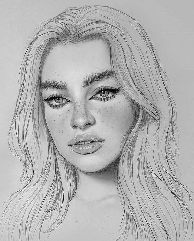 Картинки лиц девочек карандашом