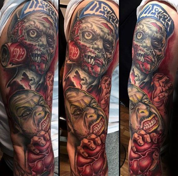 full sleeve mens zombie tattoo design ideas zombie