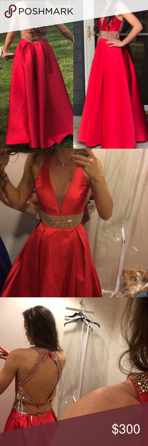 Prom dress size red with gold detailing on the front and back