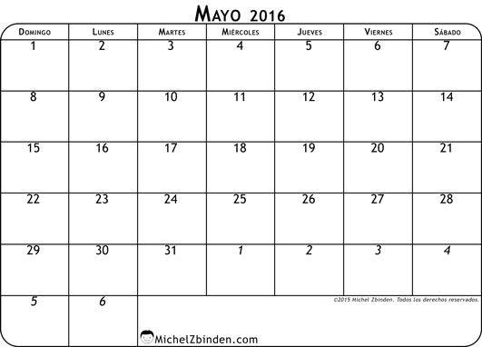 calendario mayo 2016 libre de imprimir Clásico domingo Mundo ...