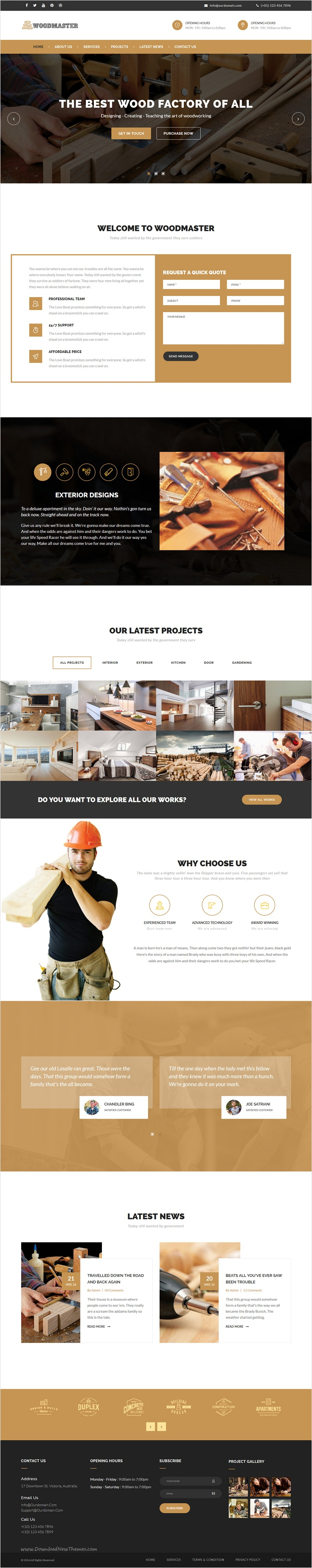 WoodMaster - Premium Carpentry HTML Template | Carpentry, Template ...