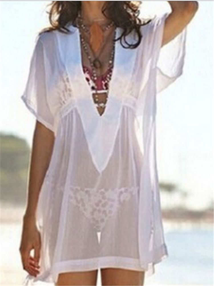 e60f72d237 Alluring See Through Mesh V Neck Cover Up. Alluring See Through Mesh V Neck  Cover Up Beach Outfit ...