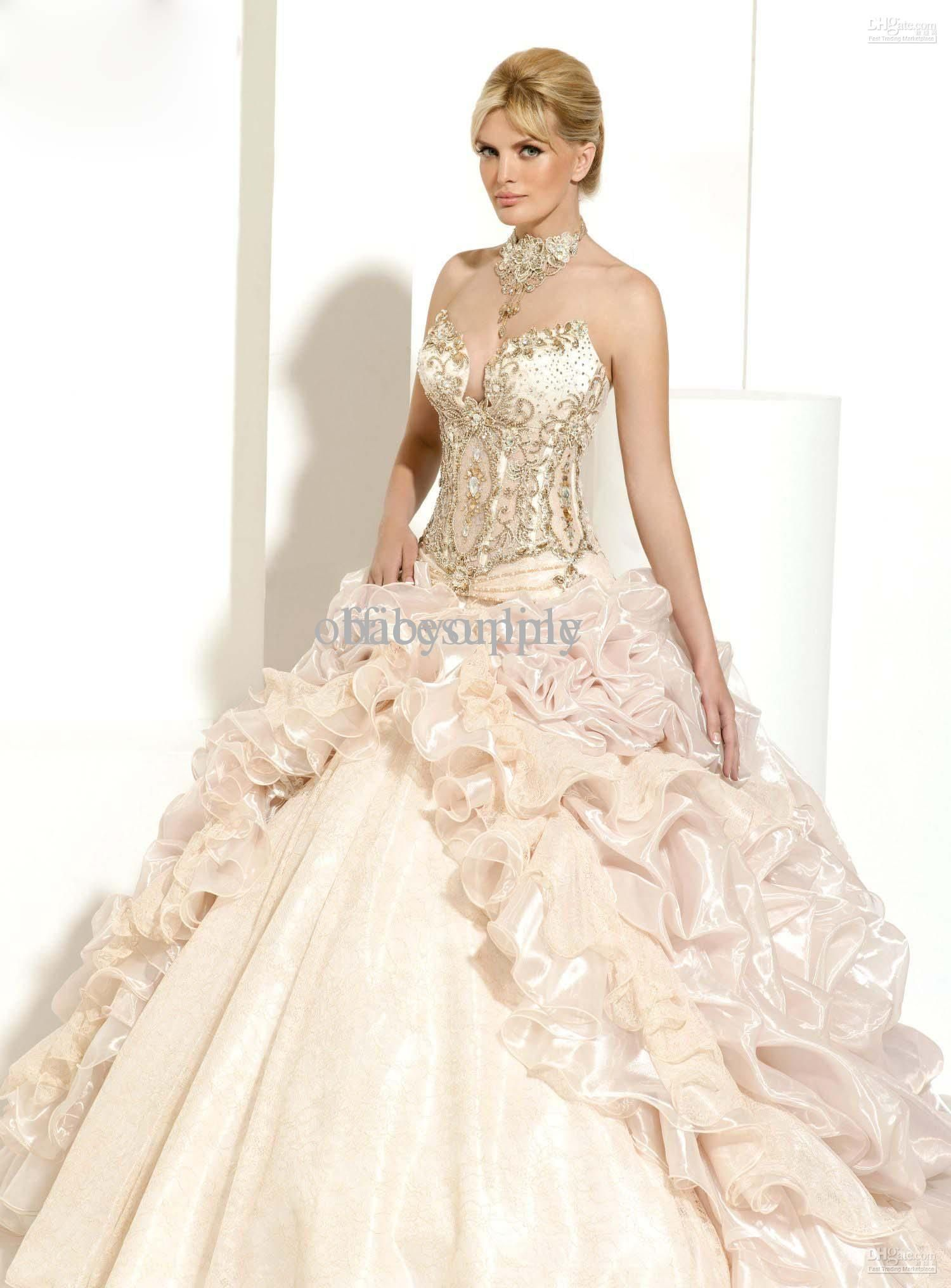 Whole 2017 Swarovski Crystals Organza Ball Gown Beach Wedding Dresses With Lace Up Back Cathedral Train