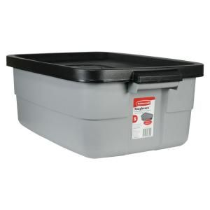 10 Gallon Roughneck Tote Fg2214tpmicbl At The Home Depot Rubbermaid Storage Bins Rubbermaid Storage Tote Storage