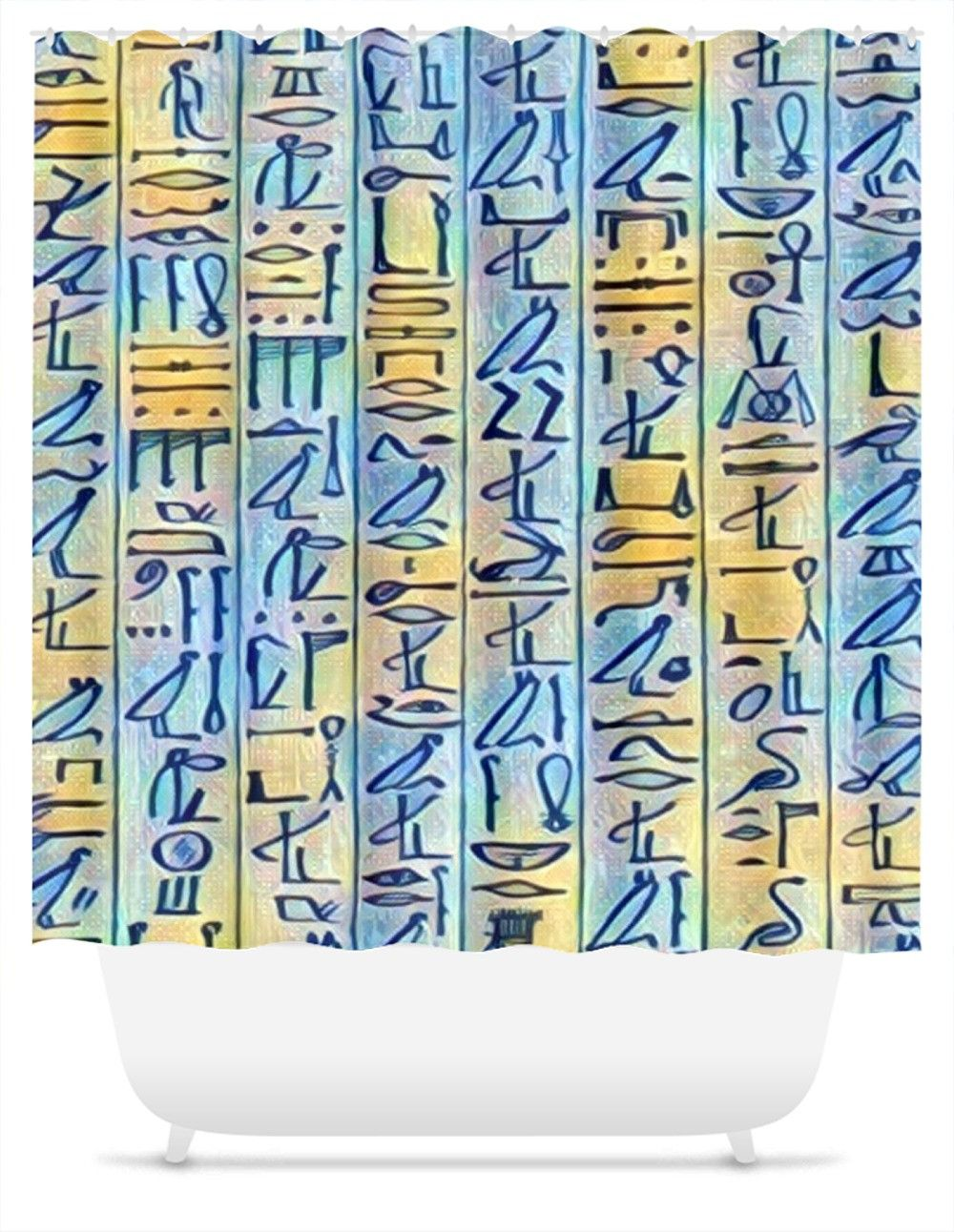 Egyptian Hieroglyphics (Blue/gold) Shower Curtain. Add drama to your bath  décor - Egyptian Hieroglyphics (Blue/gold) Shower Curtain. Add Drama To