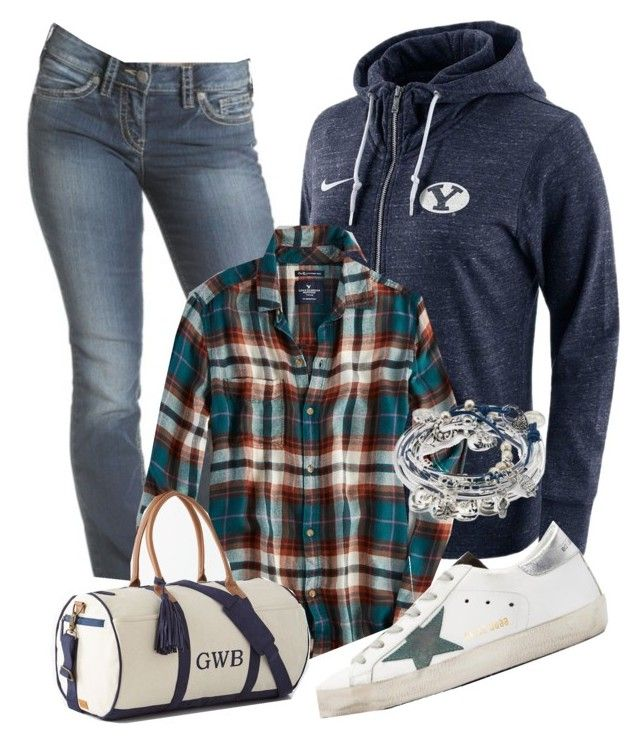 """""""Desportivo"""" by alice-fortuna on Polyvore featuring NIKE, American Eagle Outfitters, Lizzy James and Golden Goose"""