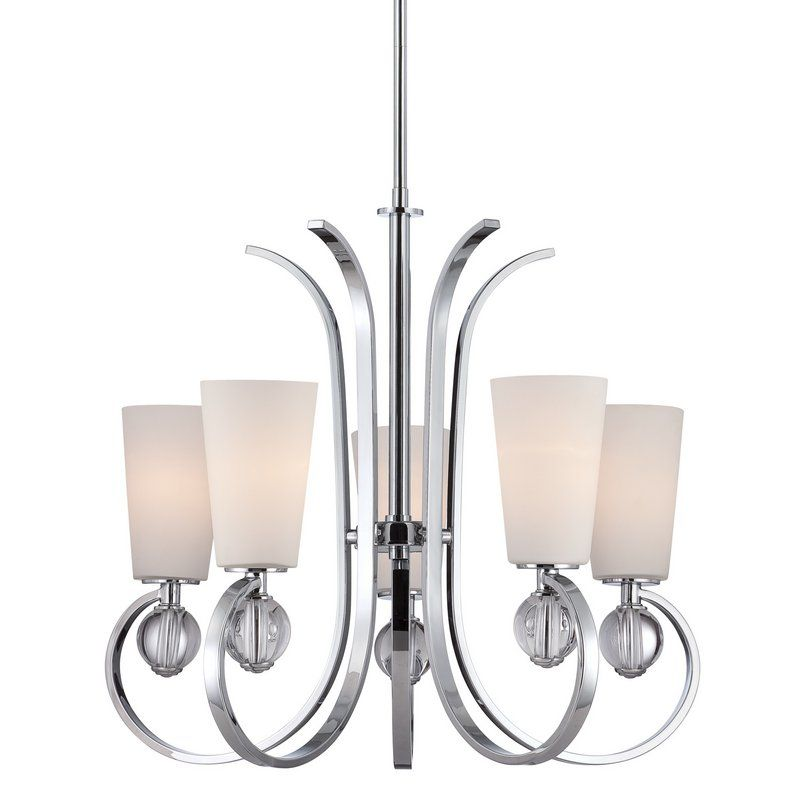 """View the Quoizel ARH5005 Aldrich 5 Light 26"""" Wide Chandelier with Opal Etched Glass at LightingDirect.com."""