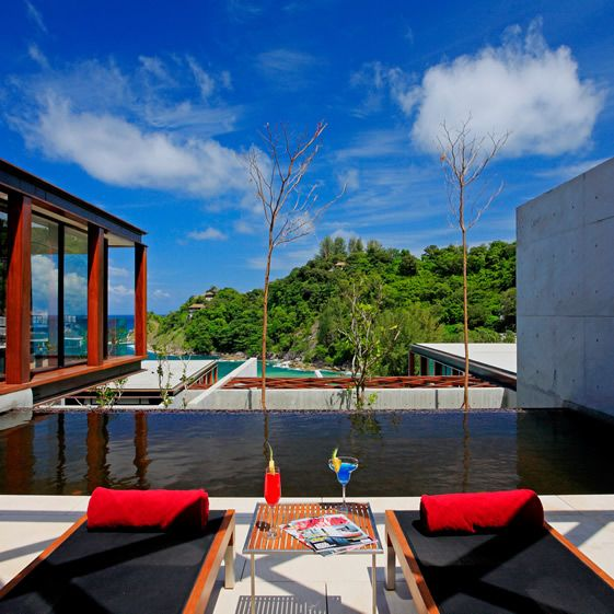 Duangrit Bunnag has created a real hideaway, comprised of 94 luxury villas that nestle on the hillside at varying degrees of elevation. Some enjoy the lapping waves of the private beach, while others float among the trees in ethereal isolation...