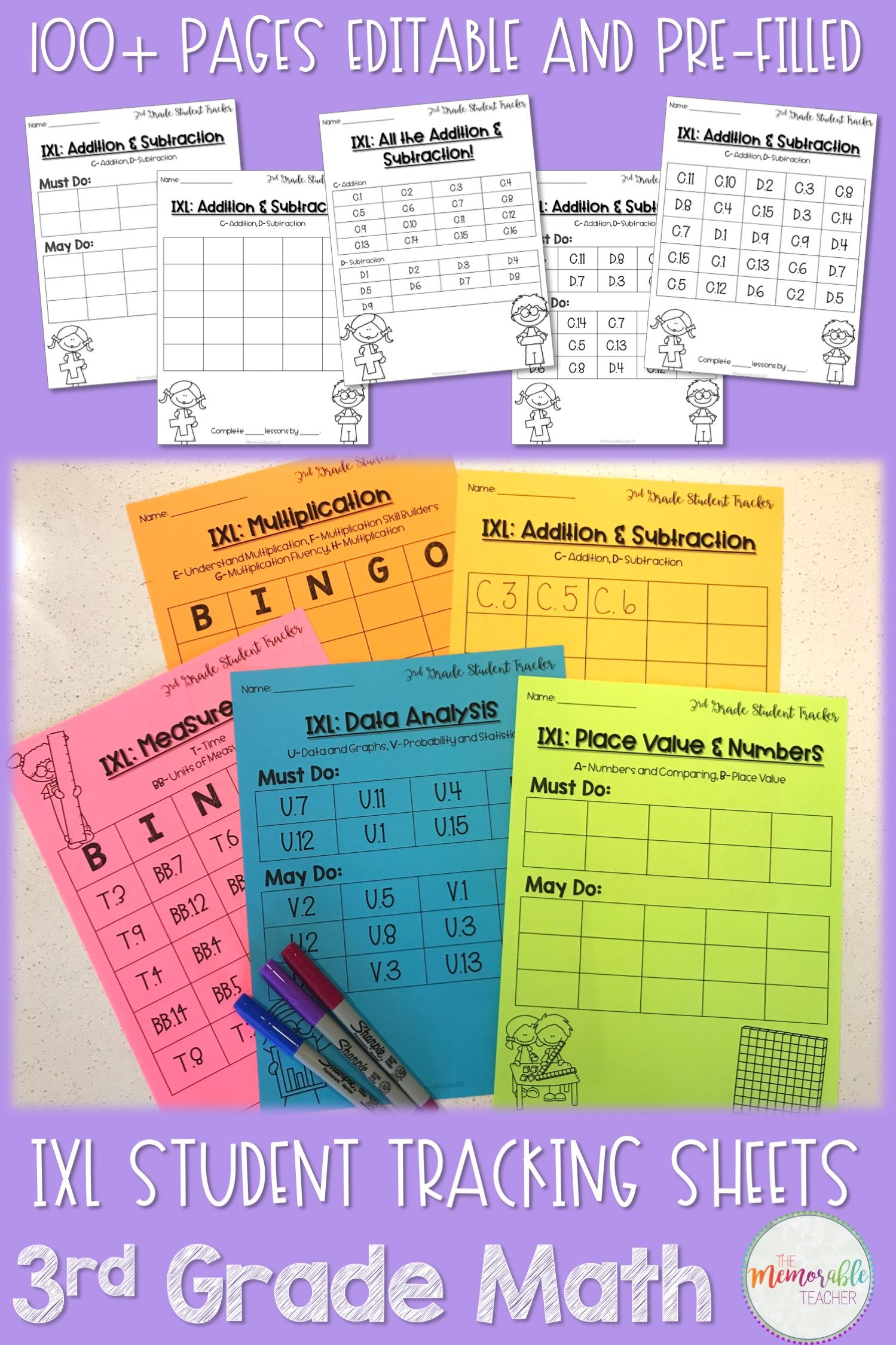 IXL Math Student Tracking Sheets 3rd Grade | Math skills, Data ...