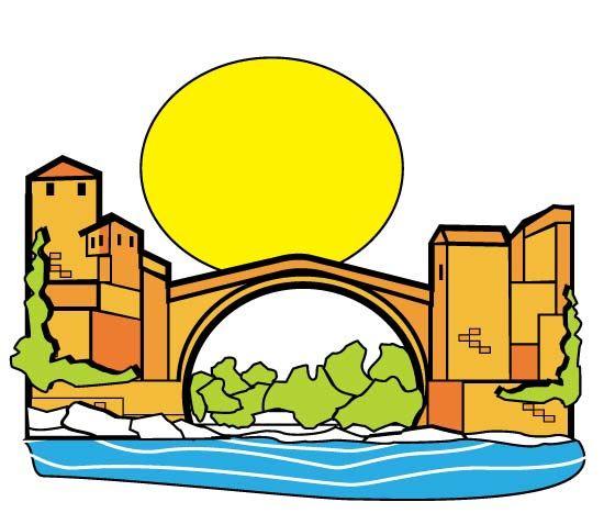 Ciudad antigua con viejo puente - vector