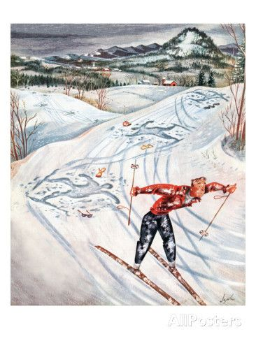 """Snow Skiier After the Falls,"" January 25, 1947 Giclee-trykk av Constantin Alajalov hos AllPosters.no"