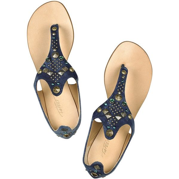 Tapeet Jeweled denim thong sandals ($130) ❤ liked on Polyvore featuring shoes, sandals, flats, scarpe, denim sandals, jeweled thong sandals, slip on shoes, blue thong sandals and slip on sandals