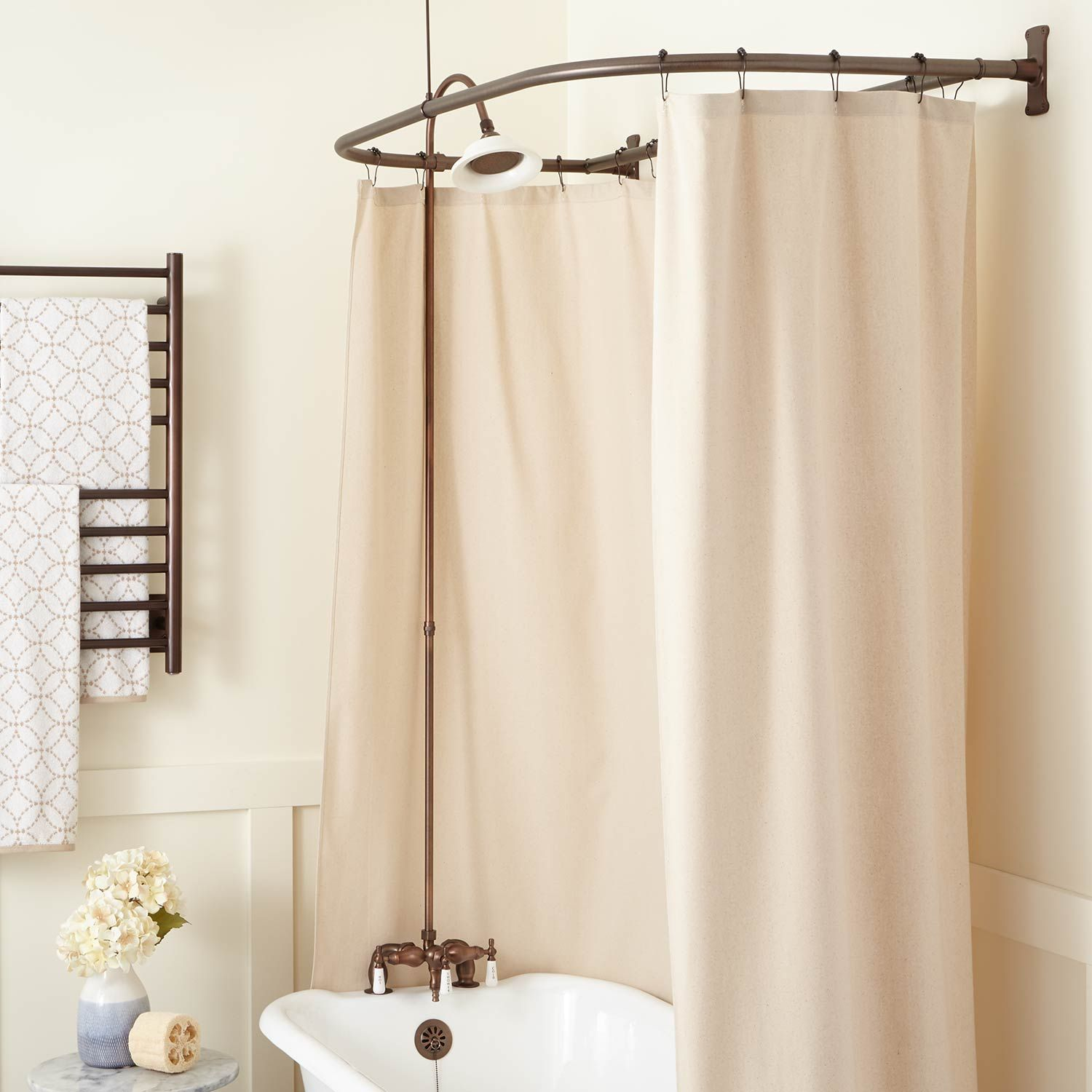 Rim Mount Clawfoot Tub Shower Kit In Porcelain Head In 54 X 27 D Shower Ring In Rings In Nickel Brass Signature Hardware Clawfoot Tub Shower Shower Curtain Rods Shower Tub