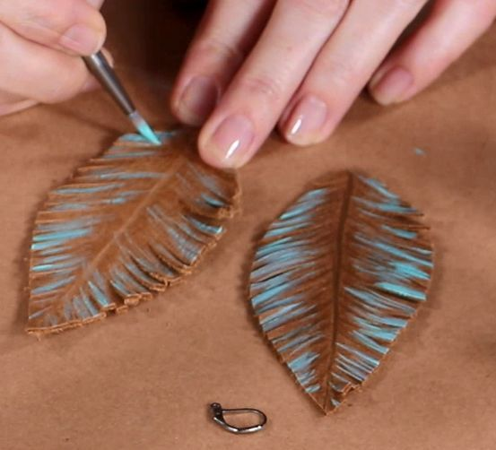 Photo of Leather Feather Earrings