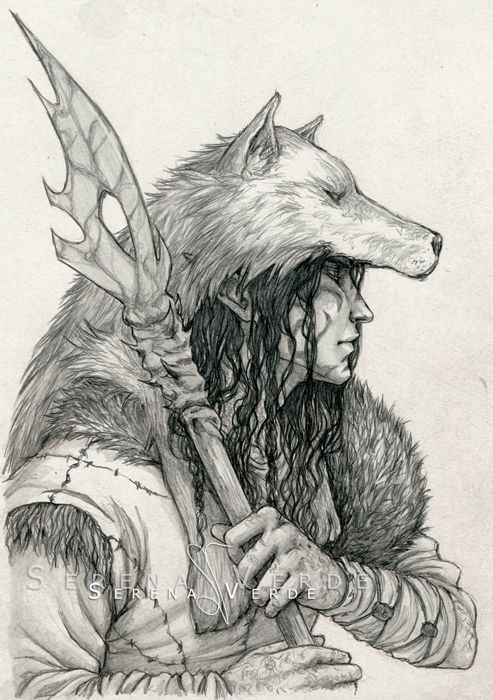 Commission: The Druid by SerenaVerdeArt spear wolf skin | NOT OUR ART - Please click artwork for source | WRITING INSPIRATION for Dungeons and Dragons DND Pathfinder PFRPG Warhammer 40k Star Wars Shadowrun Call of Cthulhu and other d20 roleplaying fantasy science fiction scifi horror location equipment monster character game design | Create your own RPG Books w/ www.rpgbard.com