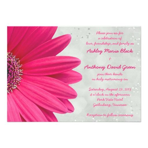 Pink Gerbera Daisy Grey Gray Wedding Invitation Zazzle Com Wedding Invitations Pink Grey Orange Wedding Invitations Pink Wedding Invitations
