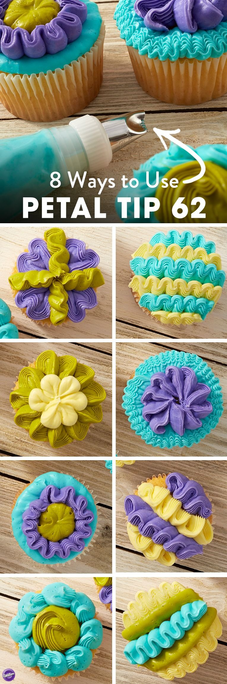 How to Decorate Cupcakes with Petal tip 62 - Often used to create textured petals, decorating tip 62 features a smooth side and a serrated side, as well as a wide end and a narrow end to add petal dimension. But petals aren't all this little tip can do! From lines to zig-zags, rosettes to ruffles, the petal decorating tip 62 can create fun and wild designs, especially when combined with fun color combinations!