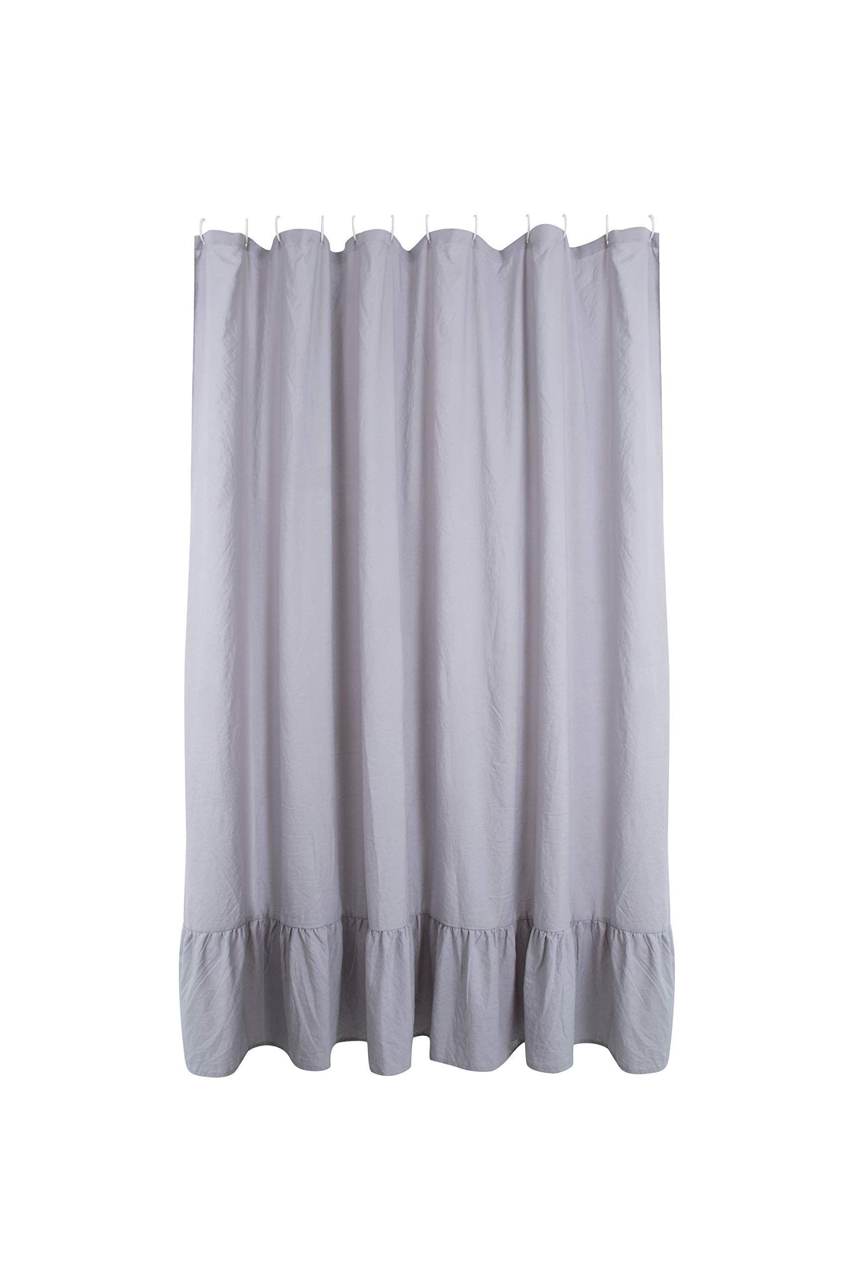 Aniello Gray Ruffle Shower Curtain Stone Washed Microfiber Extra