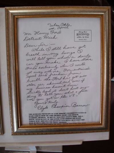 437efd6470 The Thank you letter from Clyde Barrow to Henry Ford for building such a  fine automobile