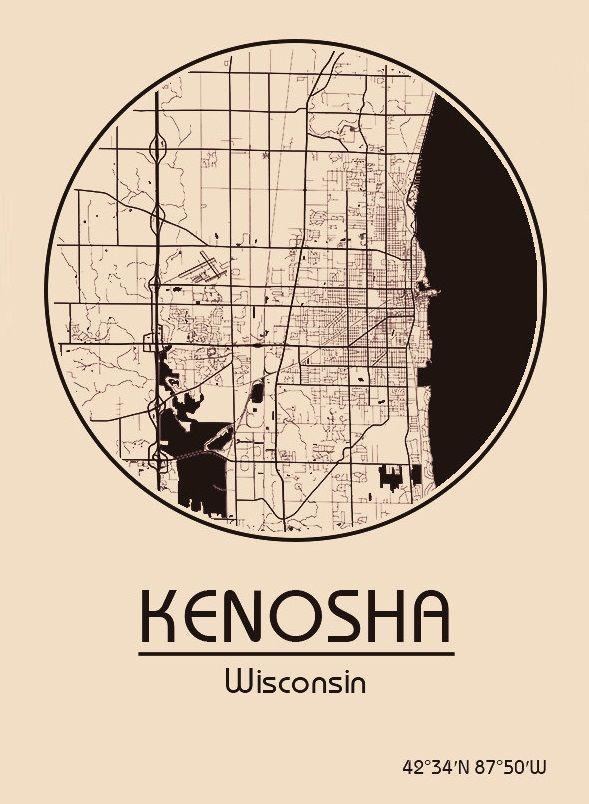 Karte Map Kenosha Wisconsin Vereinigte Staaten von Amerika