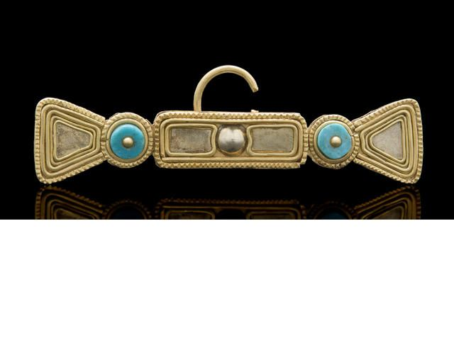 Tolita-Tumaco Gold, Platinum and Turquoise Nose Ring, ca. A.D. 500 - 1000