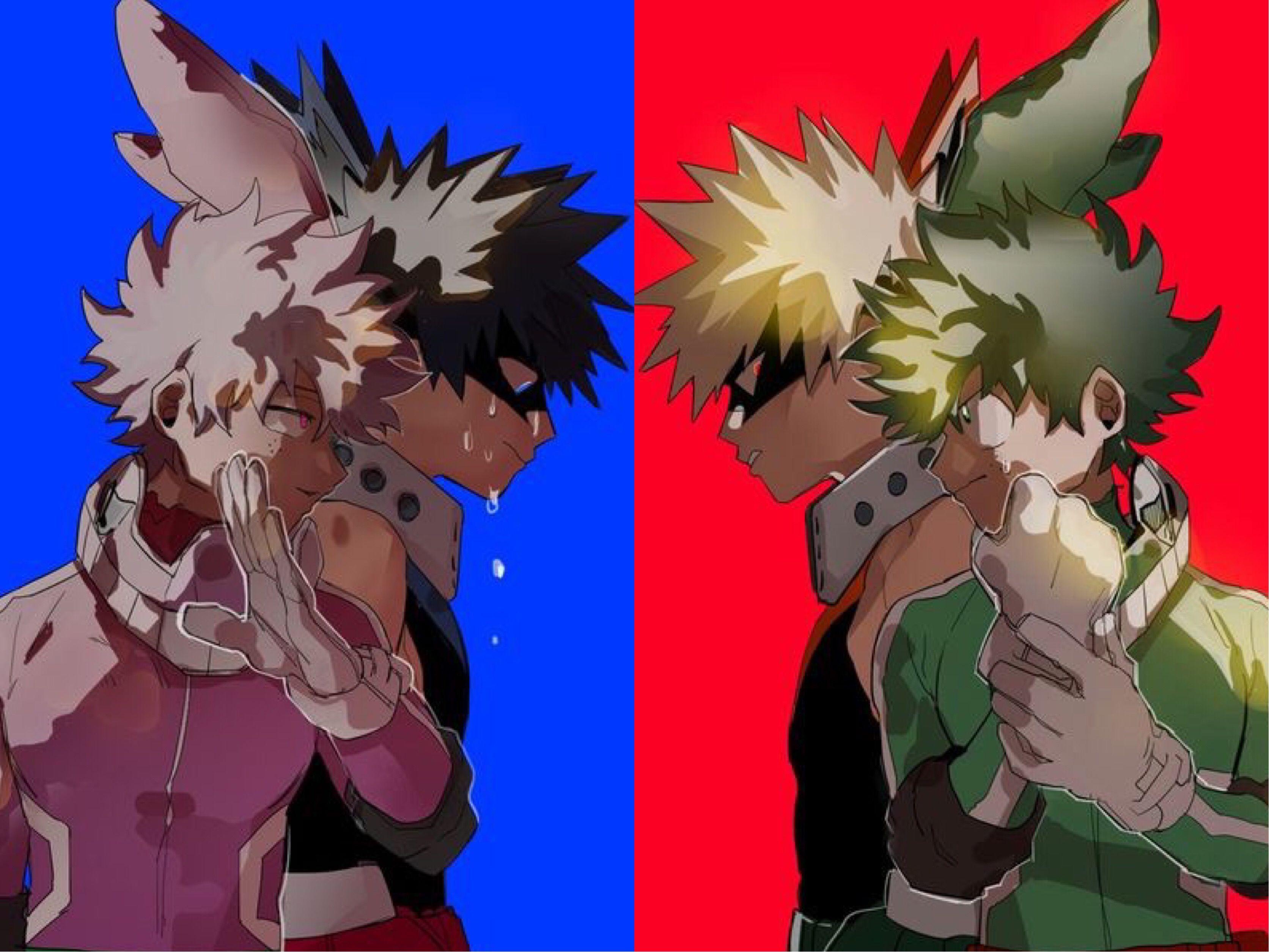 Midoriya Izuku Katsuki Bakugou Villain Versions Vs Midoriya Izuku Katsuki Bakugou Hero Versions Actuall Hero Wallpaper My Hero Academia Villain Deku
