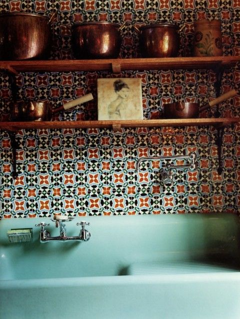 aqua farmhouse sink, patterned tiles and copper pots home sweet