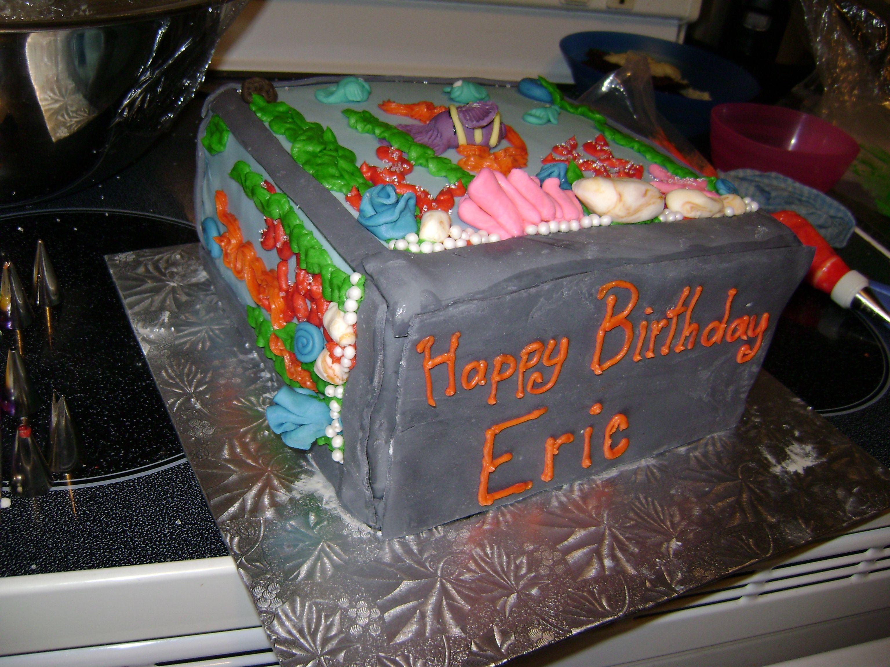 Fish tank cake made for my sister boyfriends birthday