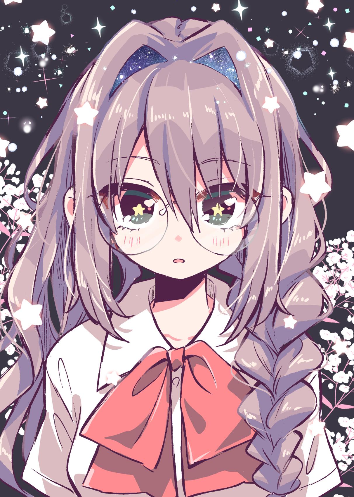 Anime 1212x1700 anime anime girls glasses long hair in