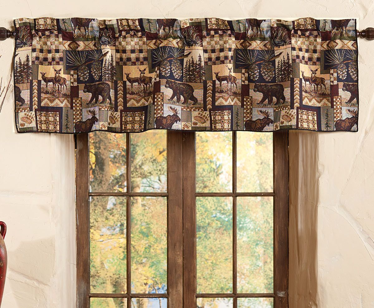 Woodland Cabin Valance In 2019 Lodge Style Home Decor Curtains Rustic