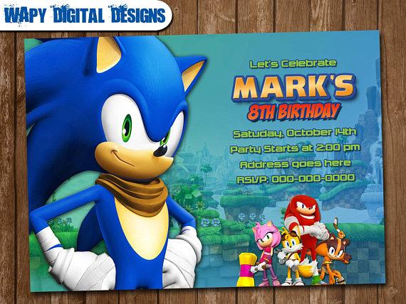 Sonic The Hedgehog Digital Party Invitation Customize Invite