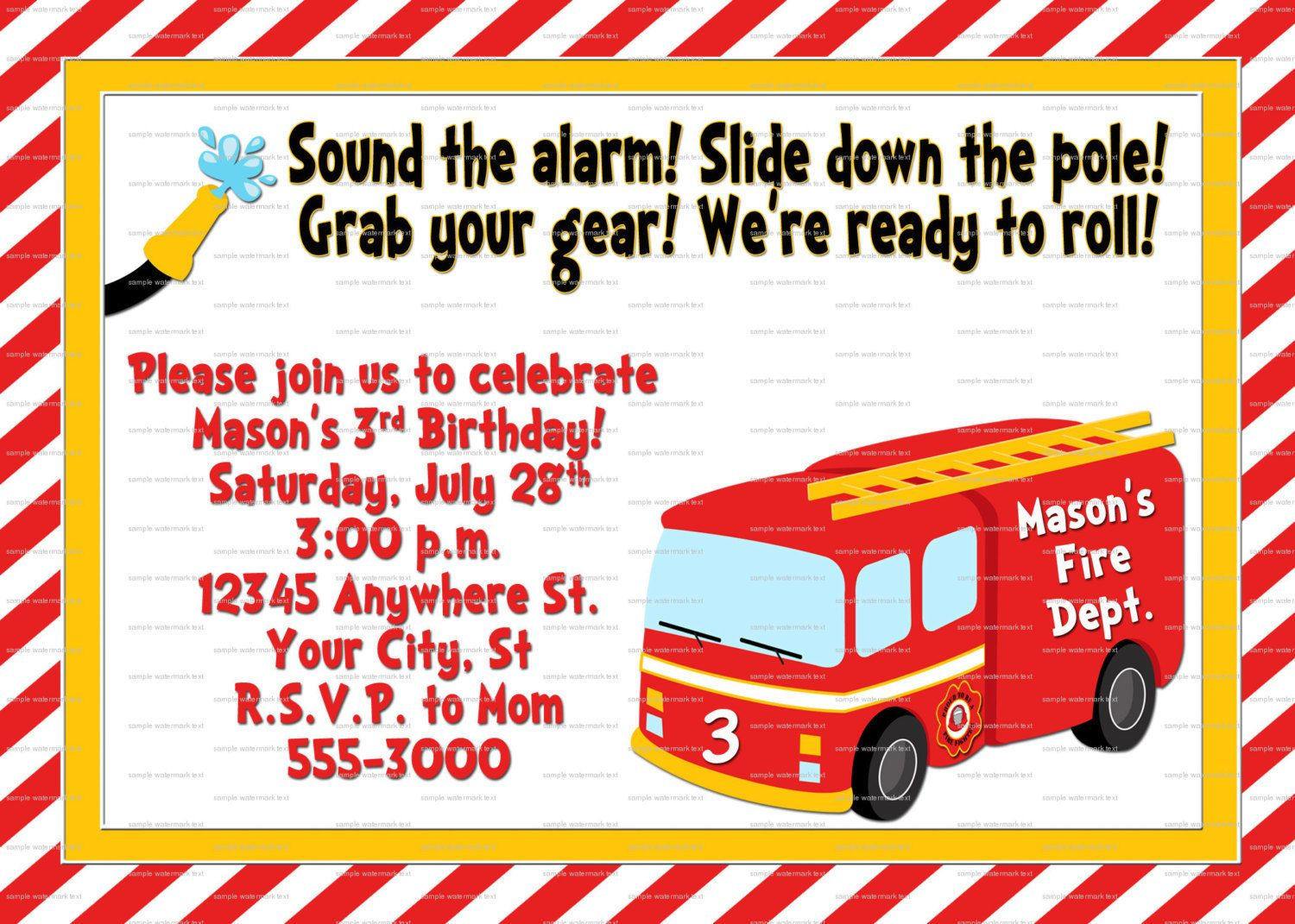 Fire Truck Themed Third Birthday Party – Firefighter Party Invitations