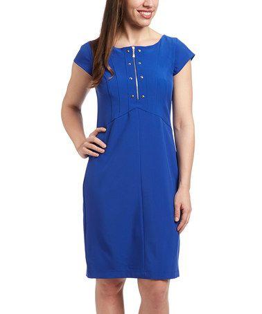 Look at this #zulilyfind! Blue Zip-Front Cap-Sleeve Dress by PIERRI #zulilyfinds