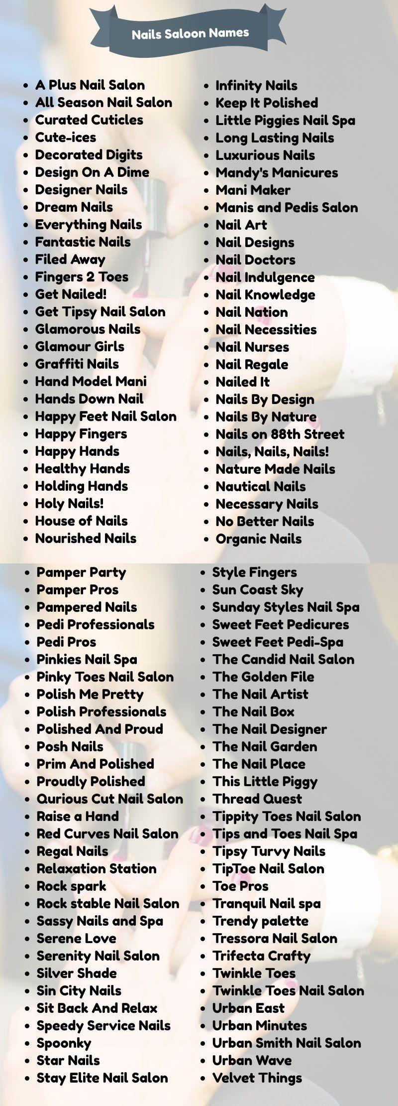 lash names for business ideas 400 Classy Nail Salon Names